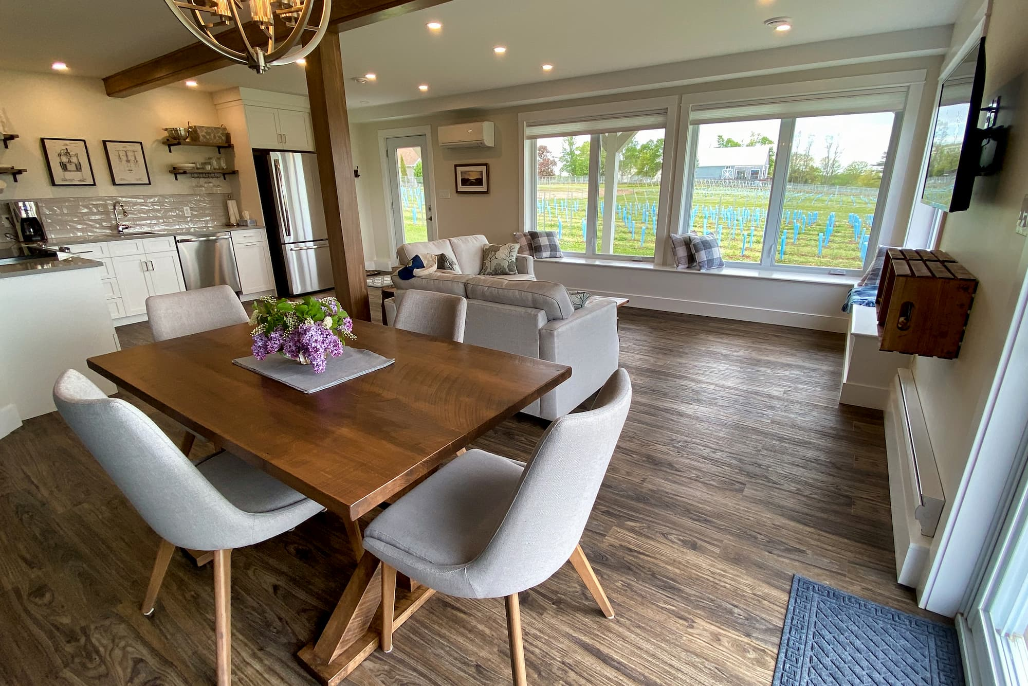 View of the dining area at Beausoleil Vineyards Guest House